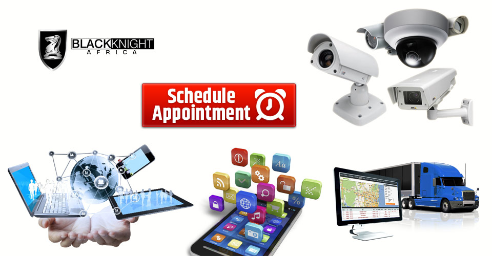 book / schedule an appointment with black knight africa for CCTV surveillance, car tracking, web design and hosting, access control and bio-metric systems, consultancy services